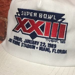 18d837ee755 NFL Accessories - Vtg  88-89 Super Bowl XXIII Miami FL Snapback Hat